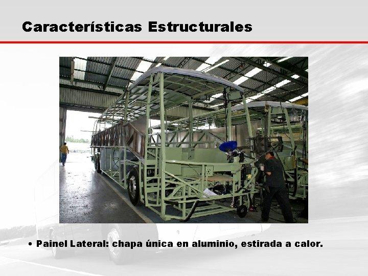Características Estructurales • Painel Lateral: chapa única en aluminio, estirada a calor.
