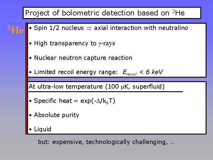 Project of bolometric detection based on 3 He • Spin 1/2 nucleus axial interaction