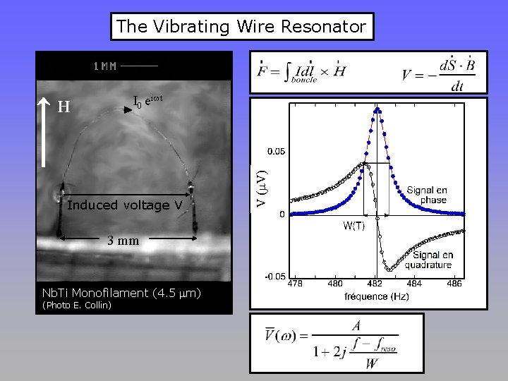 The Vibrating Wire Resonator H Induced voltage V 3 mm Nb. Ti Monofilament (4.