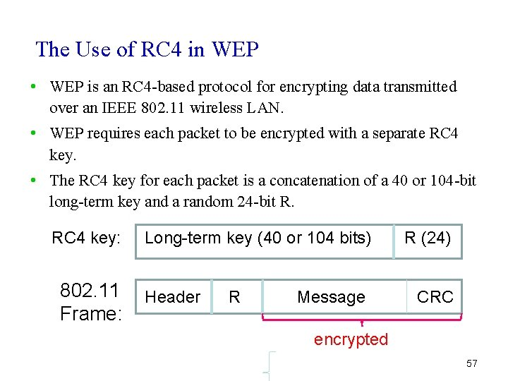 The Use of RC 4 in WEP • WEP is an RC 4 -based