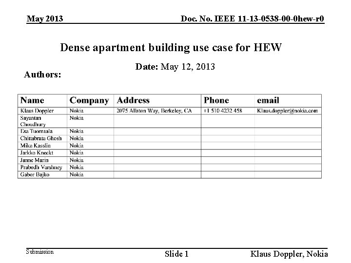 May 2013 Doc. No. IEEE 11 -13 -0538 -00 -0 hew-r 0 Dense apartment