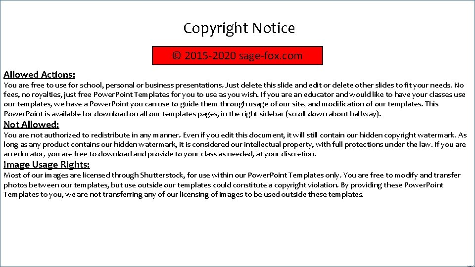 Copyright Notice © 2015 -2020 sage-fox. com Allowed Actions: You are free to use