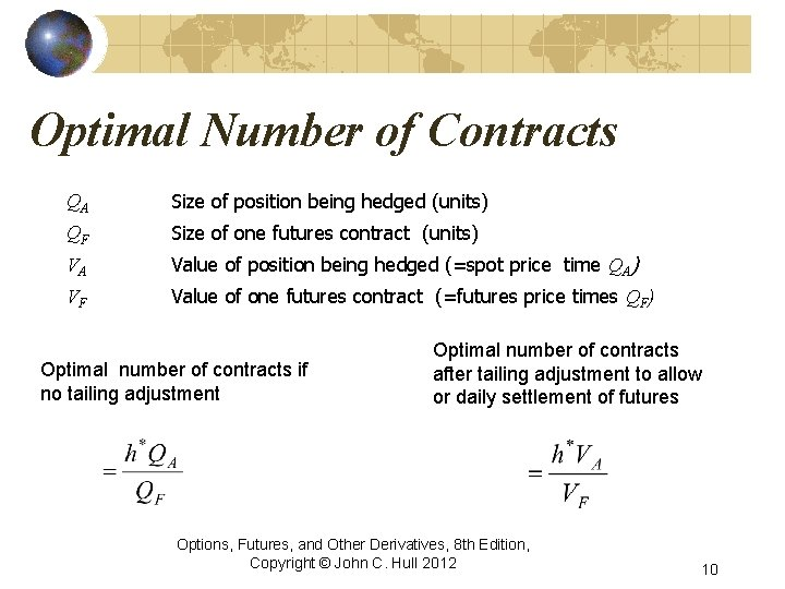 Optimal Number of Contracts QA Size of position being hedged (units) QF Size of