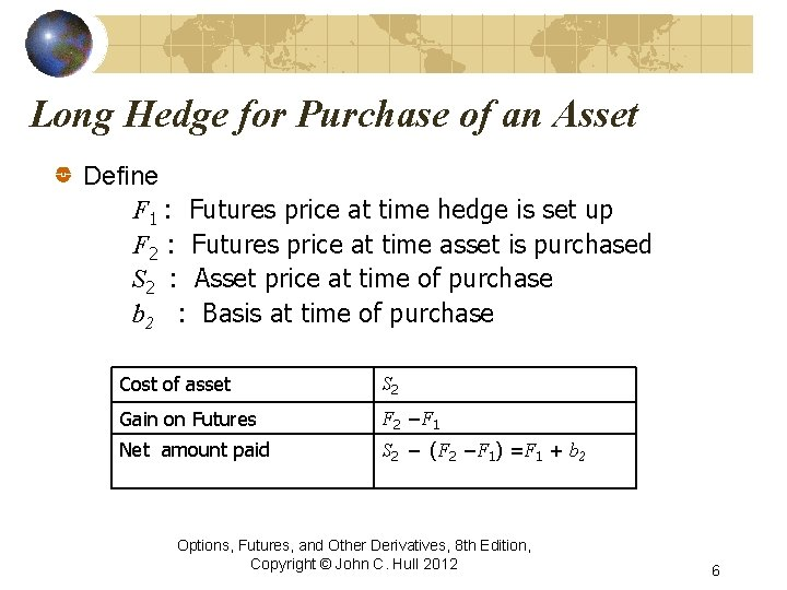 Long Hedge for Purchase of an Asset Define F 1 : Futures price at