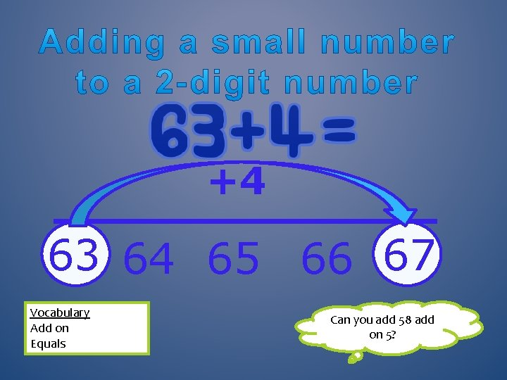 +4 63 64 65 66 67 Vocabulary Add on Equals Can you add 58