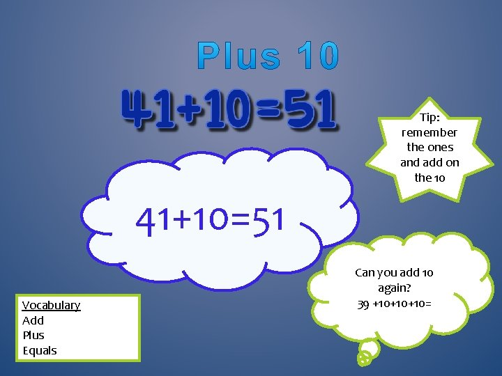 Tip: remember the ones and add on the 10 41+10=51 Vocabulary Add Plus Equals