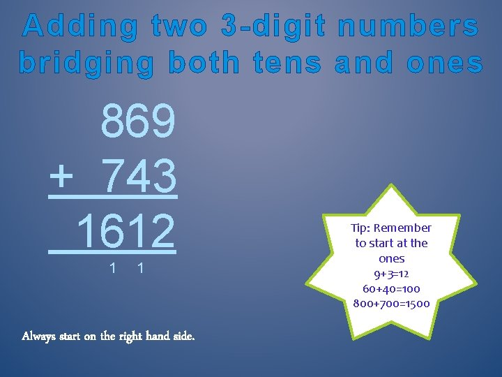 Adding two 3 -digit numbers bridging both tens and ones 869 + 743 1612