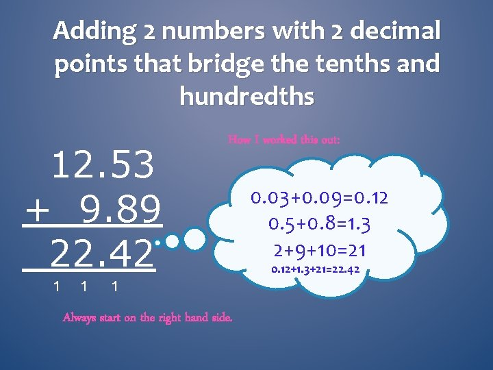 Adding 2 numbers with 2 decimal points that bridge the tenths and hundredths 12.