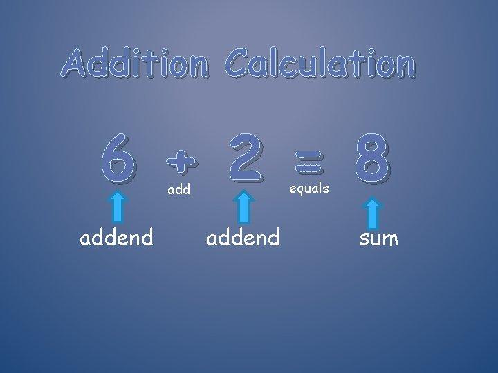 Addition Calculation 6 + 2 = 8 equals addend sum