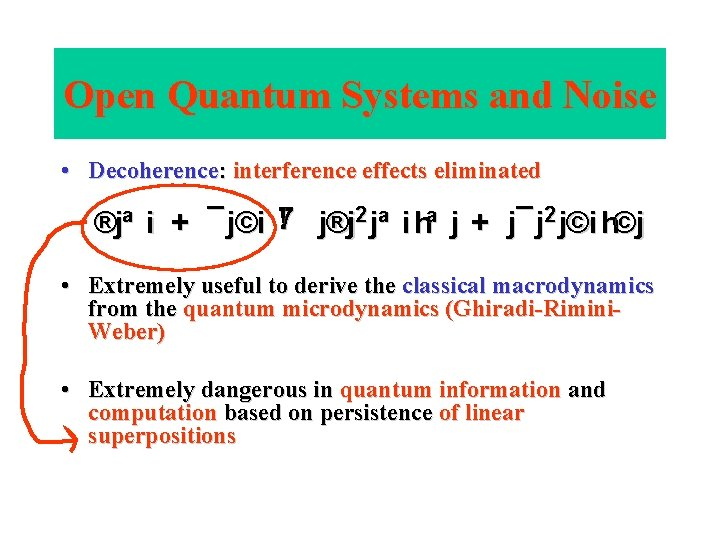 Open Quantum Systems and Noise • Decoherence: interference effects eliminated ! j®j 2 jª