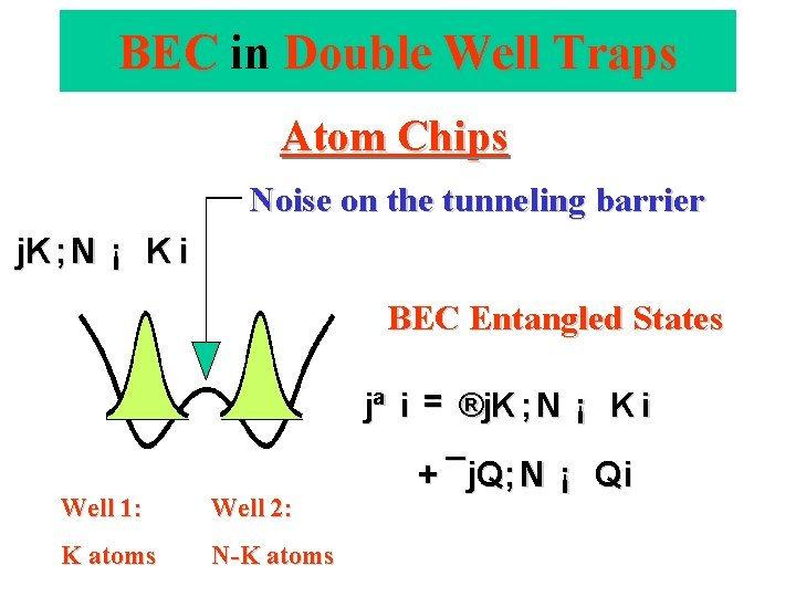 BEC in Double Well Traps Atom Chips Noise on the tunneling barrier j. K