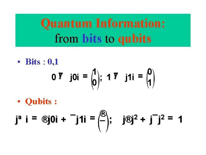 Quantum Information: from bits to qubits • Bits : 0, 1 1 0 !