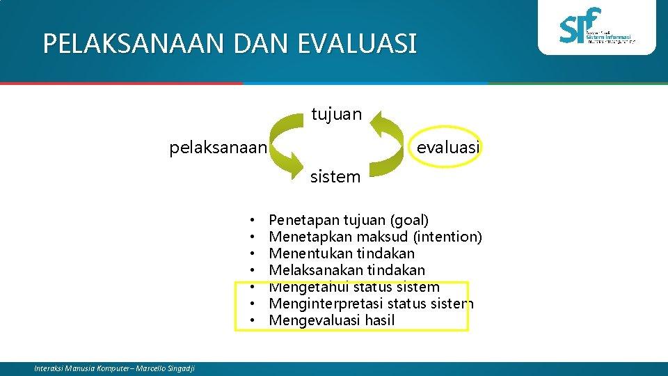 PELAKSANAAN DAN EVALUASI tujuan pelaksanaan evaluasi sistem • • Interaksi Manusia Komputer– Marcello Singadji
