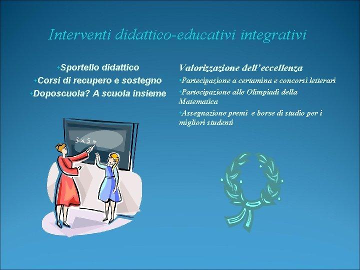 Interventi didattico-educativi integrativi • Sportello didattico • Corsi di recupero e sostegno • Doposcuola?