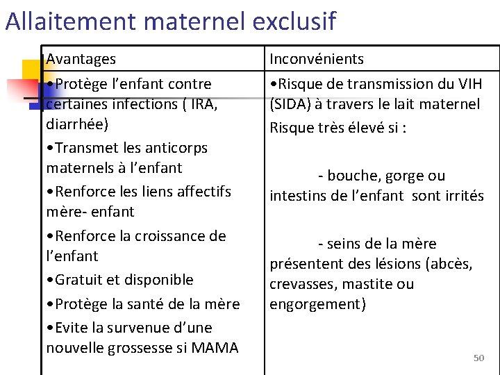 Allaitement maternel exclusif Avantages • Protège l'enfant contre certaines infections ( IRA, diarrhée) •