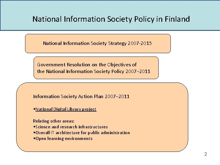 National Information Society Policy in Finland National Information Society Strategy 2007 -2015 Government Resolution