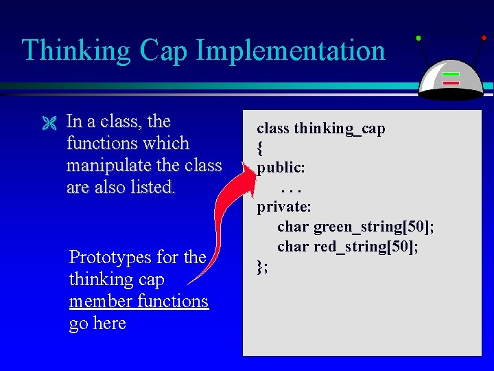 Thinking Cap Implementation In a class, the functions which manipulate the class are also