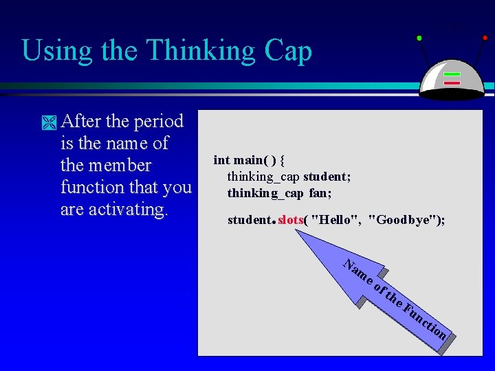 Using the Thinking Cap After the period is the name of the member function