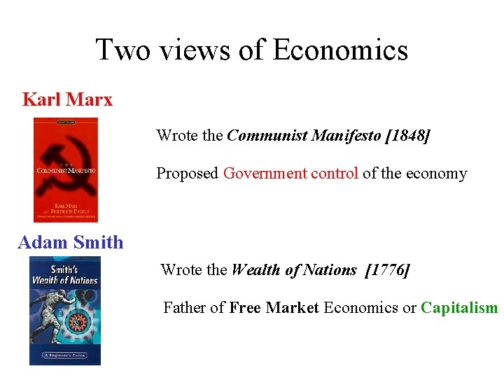 Two views of Economics Karl Marx Wrote the Communist Manifesto [1848] Proposed Government control
