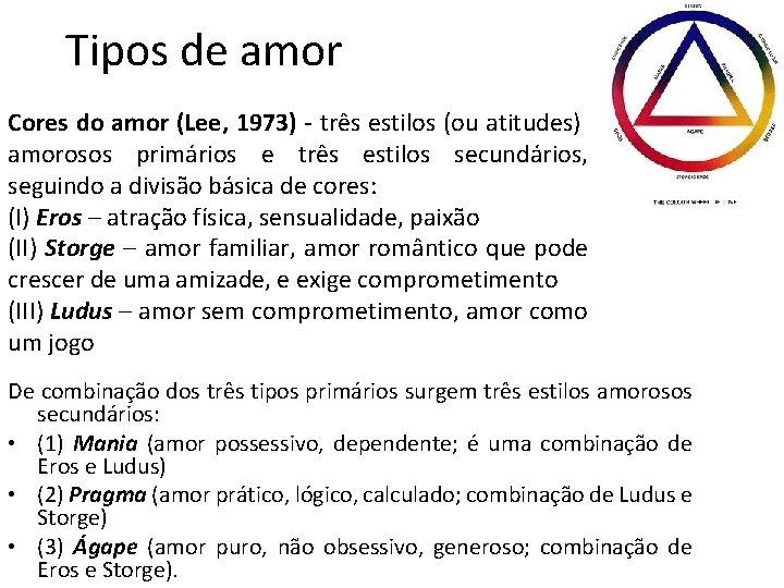 Tipos de amor Cores do amor (Lee, 1973) - três estilos (ou atitudes) amorosos
