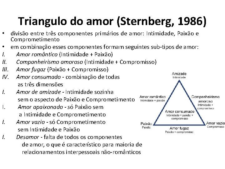 Triangulo do amor (Sternberg, 1986) • divisão entre três componentes primários de amor: Intimidade,
