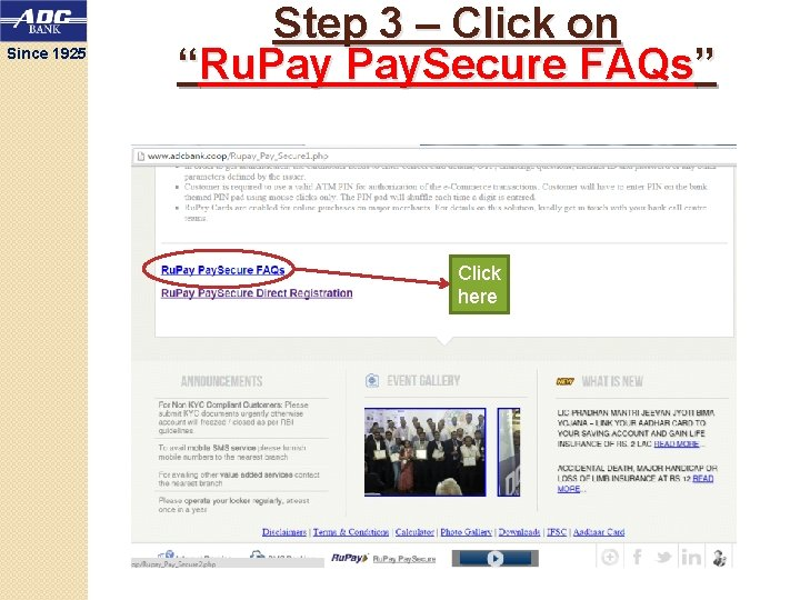 """Since 1925 Step 3 – Click on """"Ru. Pay. Secure FAQs"""" Click here"""