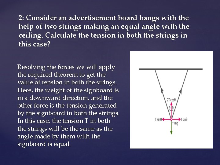 2: Consider an advertisement board hangs with the help of two strings making an