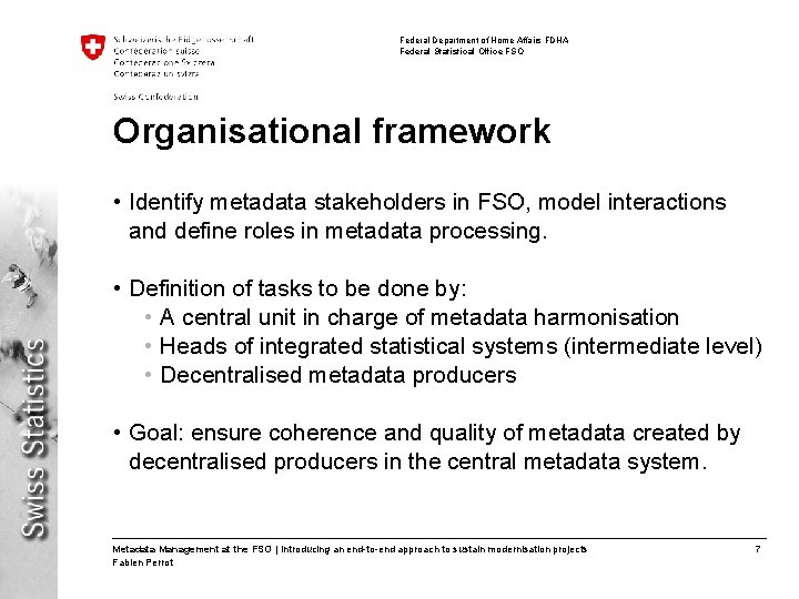Federal Department of Home Affairs FDHA Federal Statistical Office FSO Organisational framework • Identify