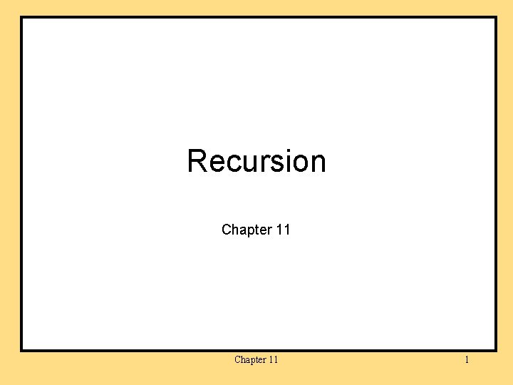 Recursion Chapter 11 1
