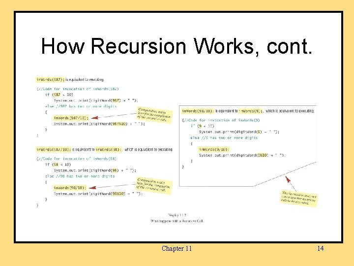 How Recursion Works, cont. Chapter 11 14