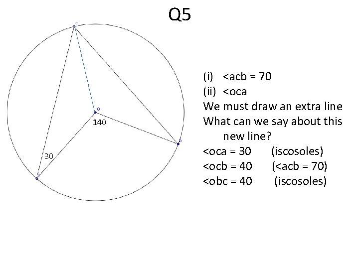Q 5 140 30 (i) <acb = 70 (ii) <oca We must draw an