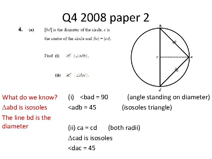 Q 4 2008 paper 2 What do we know? abd is isosoles The line