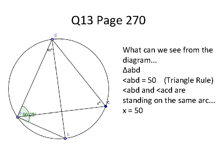 Q 13 Page 270 40° x° What can we see from the diagram. .