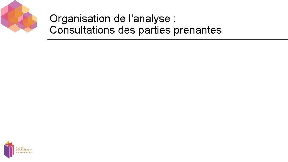 Organisation de l'analyse : Consultations des parties prenantes