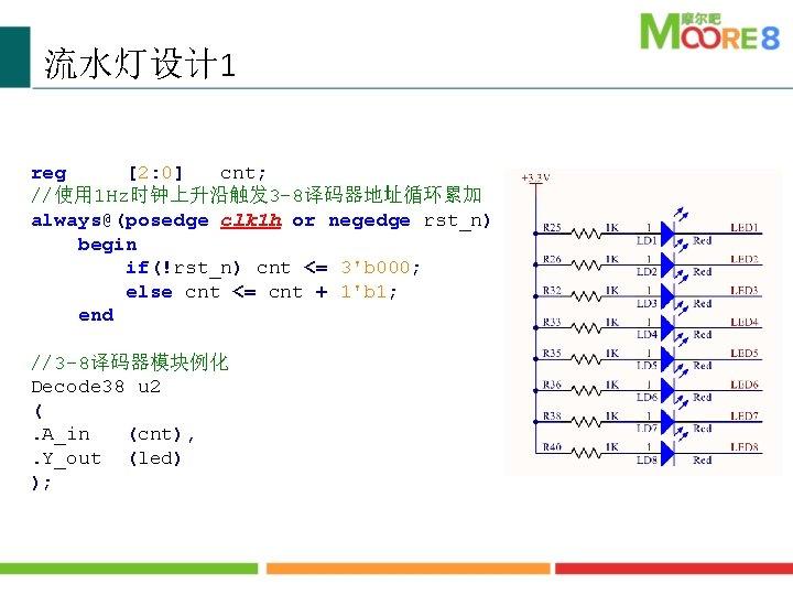 流水灯设计 1 reg [2: 0] cnt; //使用 1 Hz时钟上升沿触发 3 -8译码器地址循环累加 always@(posedge clk 1
