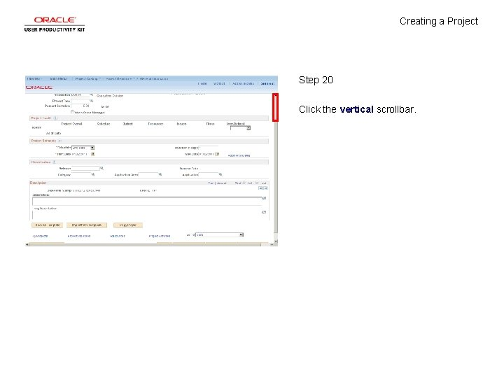 Creating a Project Step 20 Click the vertical scrollbar.