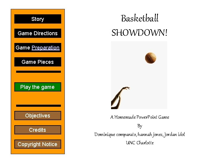 Story Game Directions Basketball SHOWDOWN! Game Preparation Game Pieces Play the game Objectives Credits
