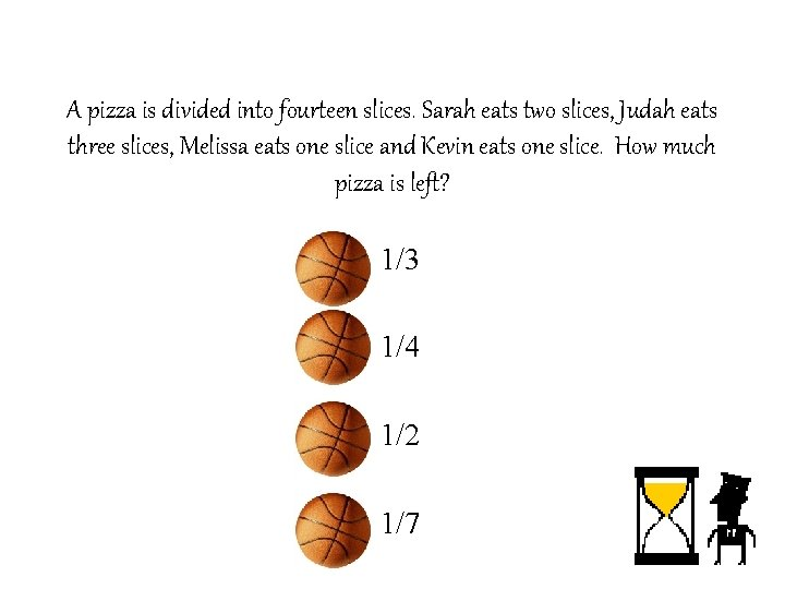 A pizza is divided into fourteen slices. Sarah eats two slices, Judah eats three