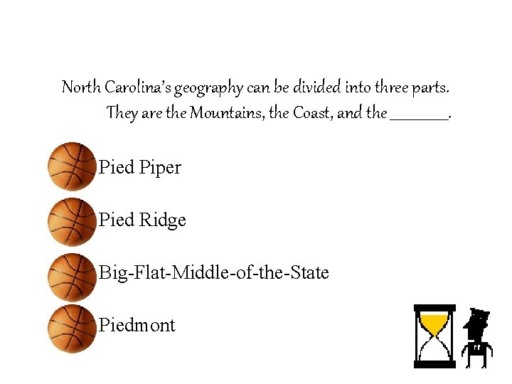 North Carolina's geography can be divided into three parts. They are the Mountains, the