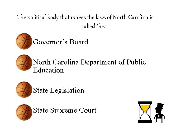 The political body that makes the laws of North Carolina is called the: –