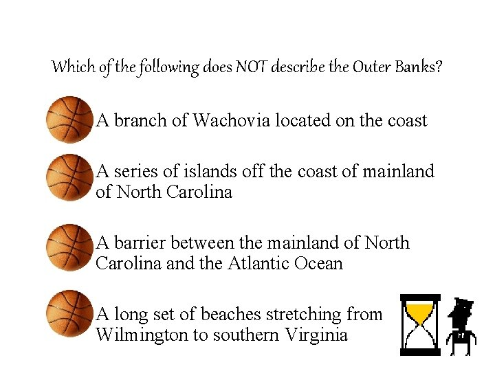 Which of the following does NOT describe the Outer Banks? – A branch of