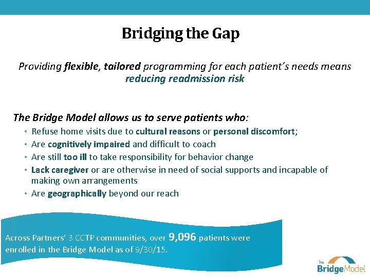 Bridging the Gap Providing flexible, tailored programming for each patient's needs means reducing readmission