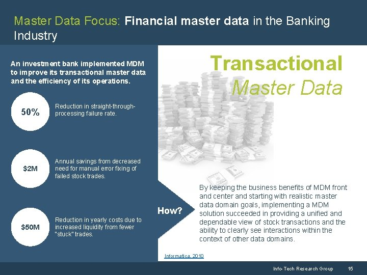 Master Data Focus: Financial master data in the Banking Industry Transactional Master Data An