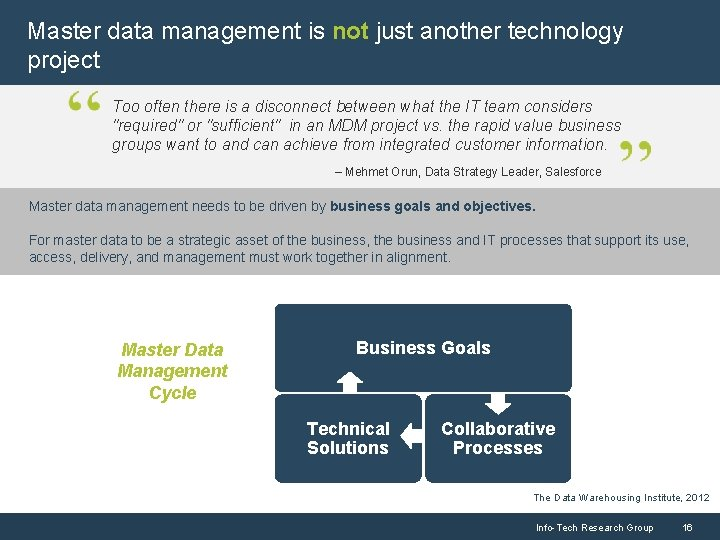 Master data management is not just another technology project Too often there is a