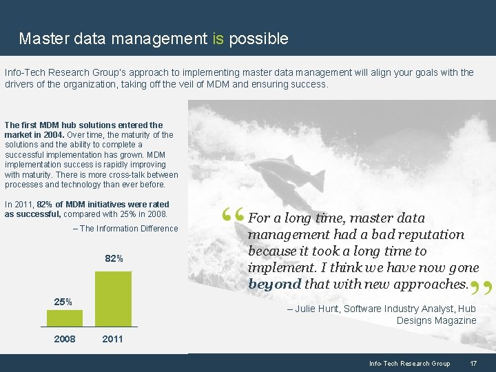 Master data management is possible Info-Tech Research Group's approach to implementing master data management