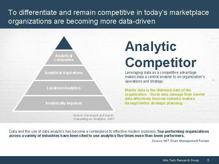 To differentiate and remain competitive in today's marketplace organizations are becoming more data-driven Analytical