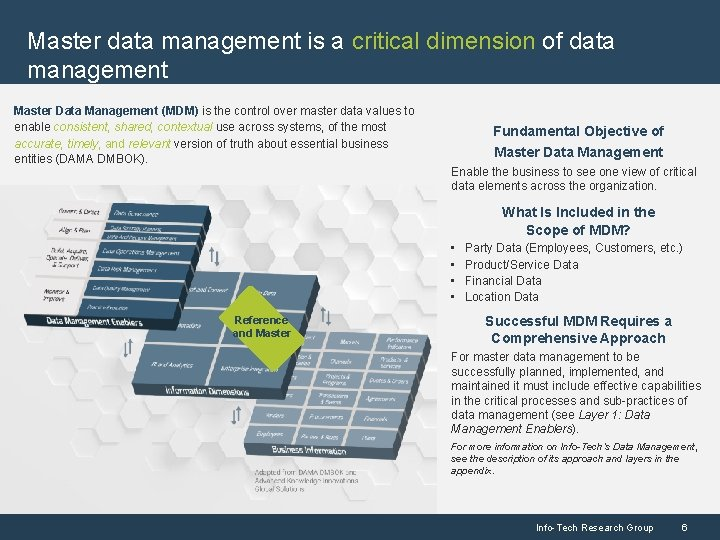 Master data management is a critical dimension of data management Master Data Management (MDM)