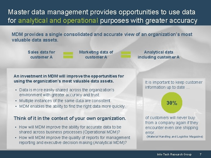 Master data management provides opportunities to use data for analytical and operational purposes with