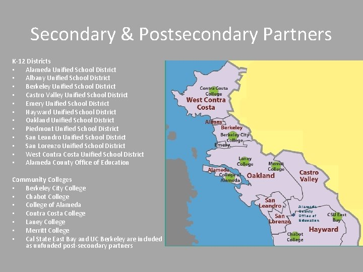 Secondary & Postsecondary Partners K-12 Districts • Alameda Unified School District • Albany Unified