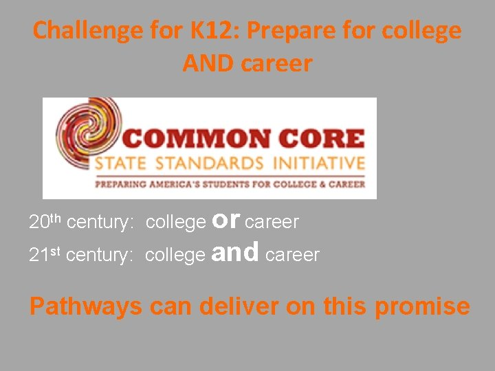 Challenge for K 12: Prepare for college AND career 20 th century: college or
